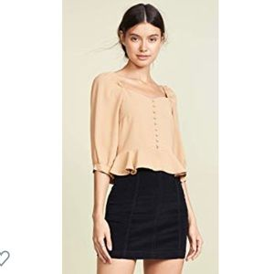 J.O.A. Puff sleeve Wide Neck Top